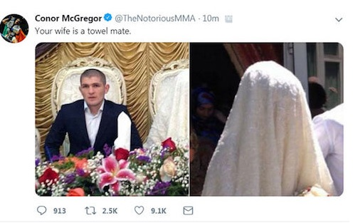 МакГрегор твит про полотенце и жену Хабиба